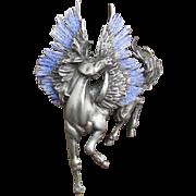 Vintage JJ Jonette Jewellery Signed Pegasus Pewter Brooch Glitter Wings
