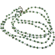 Vintage Chinese Nephrite Jade and Freshwater Pearl Beads Necklace
