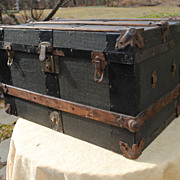 SOLD Circa 1890-10 Oak Banded Doll Trunk - Red Tag Sale Item