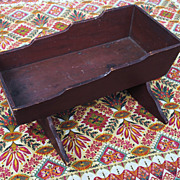 Wonderful Old Red Crackle Finish Doll Cradle...Vermont...19thc.