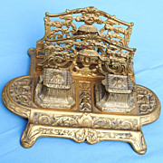 Highly Ornate Cast Brass Letter Holder and Inkwell