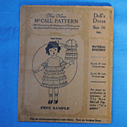 Circa 1930-40 McCall Pattern For A Compo  Doll