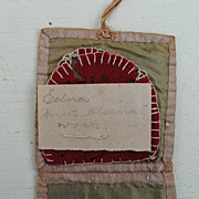 19th c, Needle Case...Leather And Silk...Handwritten Note