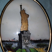 SALE Reverse Painted Statue Of Liberty....Funky Statue!....Early 20th c.