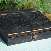 SALE Lap Desk In Original Black Paint....Late 19th c....Dovetailed Construction