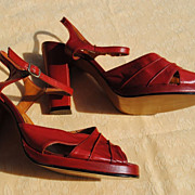 SALE Never Worn French Platform Sandals Circa 1940 Size 7-7 1/2....Great Red Color