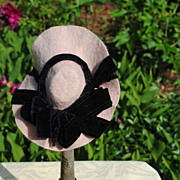 SALE Pretty Pink Felt With Black Velvet Ribbon Hat, Circa 1890-1910