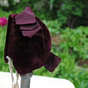 SALE Late 19th c. Deep Burgundy Velvet Bonnet For A Bebe