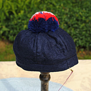 Navy Blue Hat With Red White And Blue Pom Pom...Patriotic !