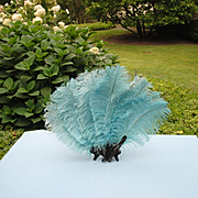 Gorgeous Big Blue Ostrich Feather Fan