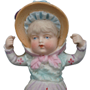 Charming All Bisque 19th c. Bonnet Head Swinger Doll