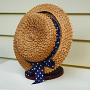 SALE Turn Of The Century Straw Hat......Interesting Straw Design