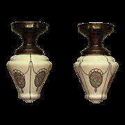 Single Only Custard Glass Teardrop Globes with Chintz Medallians