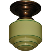 Vintage Custard Glass Drum Style Shade on Vintage Flush Mount Ceiling Fixture