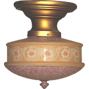 Original Lavender and Light Tan Colored Bellova Glass Shade on Vintage Semi-Flush Beardslee Fi