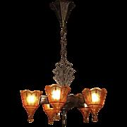 5 Slip Shade Vintage Tudor Fixture. Original Copper over Cast Iron Finish
