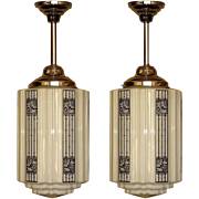Large Art Deco Commercial Fixtures two available priced each