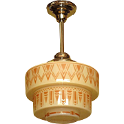 1930s Tan Art Deco Design on Tiered Custard Glass Shade