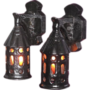 Pair c.1918 Vintage Cast Iron Porch Lights in Arts & Crafts, Bungalow, Storybook style, 2 ...