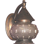 Old Cast Iron Porch Light with Inverted Hearts on Shade Top