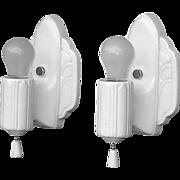 Pair Antique White Porcelain Kitchen Bathroom Art Deco Wall Sconces. 2 pair available priced .
