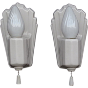 Vintage Classic Deco White Porcelain Wall Fixtures Pair