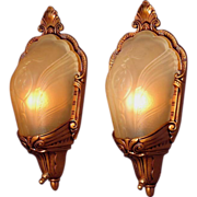 1930s Slip Shade Covered Bulb Wall Sconces ADA