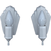 Vintage Pair Deco Inspired White Porcelain Wall Sconces