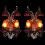 Pair Cast Iron Tudor Gothic Storybook 2 Bulb Sconces Original Finish