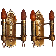 Solid Bronze Two Bulb Wall Sconces Original Finish and Patina