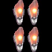 2 Pair Pink Slip Shade Sconces Priced per pair