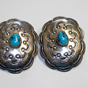 SALE Sterling Navajo Concho Earrings w Turquoise Cabochon