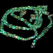 SALE Stunning Set Green Crystal Beaded Vintage Necklace Bracelet Earrings Aurora Borealis