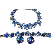 SALE Stunning Blue Rhinestone Set Regency Weiss Necklace Bracelet Earrings