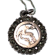SALE Sterling Rose Gold Marcasite Deer Pendant on Chain