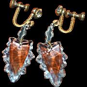 SALE Crystal Prism Drop Earrings Rhinestone Screw Backs