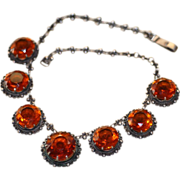 SALE Best Vintage Sterling Mexican Necklace with Faceted Glass