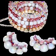 SALE Glass Beaded Set Signed Kramer Bracelet Earrings Vintage