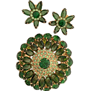 SALE Extra Large Sparkling Rhinestone Set Earrings Brooch Green