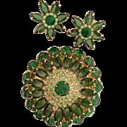 SALE Extra Large Sparkling Rhinestone Set Earrings Brooch Green