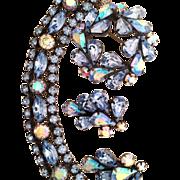 SALE Signed Regency Blue Vintage Rhinestone Set Bracelet Pin Earrings Gorgeous