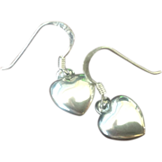 SALE Sterling Silver Heart Earrings with Wires