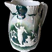 SALE Beautiful Iridescent Ceramic Pitcher Vase Figural with Ladies