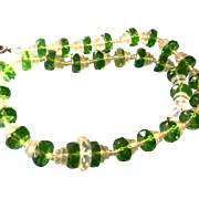 SALE Art Deco Faceted Green and Clear Crystal Necklace