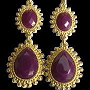 Large Dangling Ruby Red Rhinestone Earrings