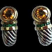 David Yurman Sterling Silver 14k Gold Citrine Emeralds Earrings.