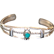 Handcrafted Sterling Silver Turquoise Stone Cuff Bracelet