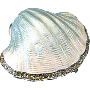 Enameled Metal Shell Trinket Jewelry Box