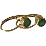 Sweet 14Kt Yellow Gold Lever Back Earrings with Faceted Emerald Stones