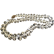 Fantastic Faceted Clear Crystal Beaded Necklace Sterling Clasp Choker